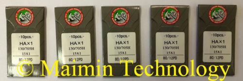 50 80/12 SHARP ORGAN TITANIUM FLAT SHANK 15X1 HAX1 HOME SEWING MACHINE NEEDLES