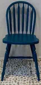 2 Mediterranean Blue Arrow Back Chairs Antique Vintage