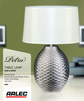 Arlec Petra Chrome Table Lamp and Beige Or White shade