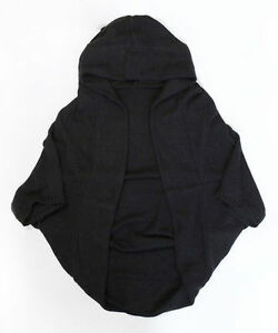 Black hooded open cocoon poncho OS NEW!
