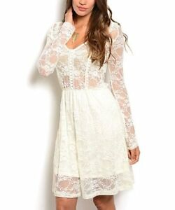 Ivory Sheer Lace Fit & Flare Dress