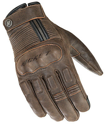 JOE ROCKET BRITON BROWN LEATHER MOTORCYCLE GLOVES TOUCH FINGER WATERPROOF LARGE