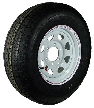 "16"" 6-5.5"" Bolt Circle White Spoke Wheel and ST23580R16E Radial Trailer Tire"