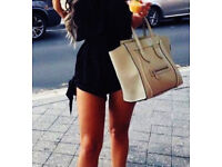 Ladies New Black Bowknot Strappy Jumpsuit Shorts.Size 20.