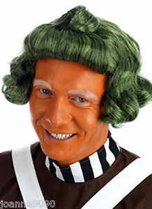 ADULT SHORT GREEN UMPA LUMPA FACTORY WORKER OOMPA LOOMPA WIG FANCY DRESS COSTUME