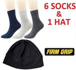 NEW FIRM GRIP 6PC SOCKS  HAT COMBO -LARGE SIZE - WINTER HAT TOQUE - 6 PAIR OF SOCKS 98935994