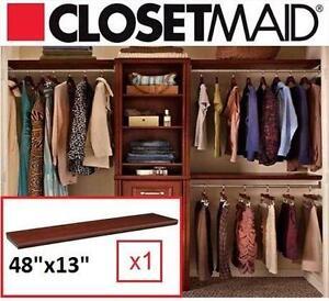 "NEW CLOSETMAID TOP SHELF KITS 48""x13"" CHOCOLATE - STORAGE - TOP SHELF KITS 48""x13"" 109868705"