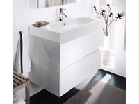 Ikea High-gloss white sink cabinet BRÅVIKEN/GODMORGON