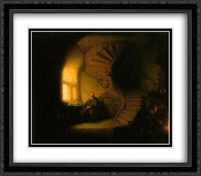 Philosopher in Meditation 2x Matted 32x28 Large Framed Art Print by Rembrandt