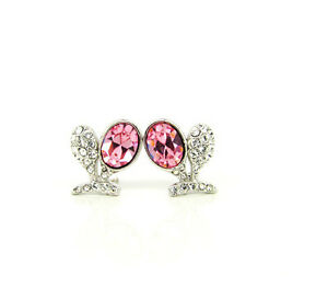 Swarovski Pink Crystal Oval 18K WGP Studs Earrings on SALE!