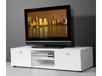 Modern High gloss white TV stand/unit, 2 doors, Swarovski crystal element handles (brand new)