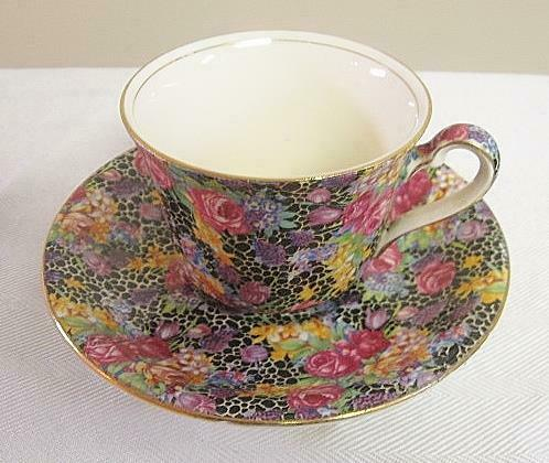 Vintage Royal Winton Chintz Hazel Cup and Saucer Florals on Black