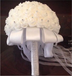 New Ivory White Crystal Bridal Bouquet OBO