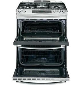 "GE Profile Gas Stove Stainless Steel 30"", Double Oven, $1799"
