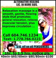 ABBOTSFORD MASSAGE /$10 OFF ON PENSIONERS