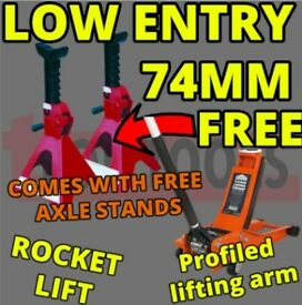 SEALEY TOOLS 2001LE LOW ENTRY TROLLEY JACK + AXLE STANDS DEAL 2TONNE LOW ENTRY ROCKET LIFT ORANGE