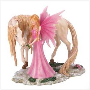 14613 Pink Fairy And Her Unicorn Figurine