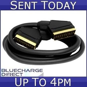 5m Long Fully Wired 21 Pin Scart to Scart Lead Cable TV DVD SKY Gold 5 metre