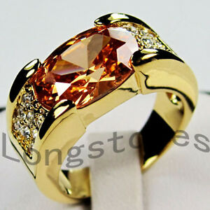 Jewelry-New-champagne-Topaz-mens-10kt-yellow-Gold-GF-Ring-10