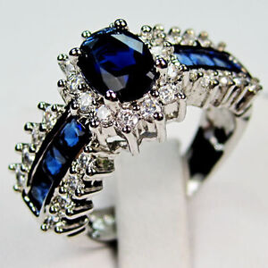 Jewelry-Bland-new-sapphire-ladys-10KT-white-Gold-Filled-Ring-sz8-10