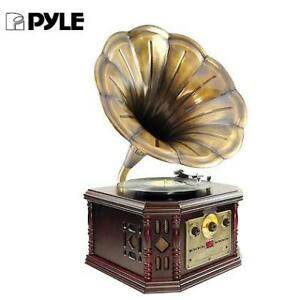 NEW PYLE VINTAGE TURNTABLE SYSTEM PVNP48BCD 222880950 BLUETOOTH TURNTABLE SYSTEM GRAMOPHONE/PHONOGRAPH STYLE