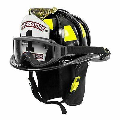 Cairns N6a Houston Leather Firefighter Fire Helmet With Brass Eagle - Black