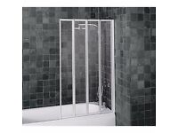 Aqualux Folding Four Panel Shower Screen - White & Clear