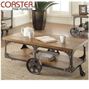 USED* COASTER COFFEE TABLE 701128 213790696 RUSTIC BROWN WHEELS