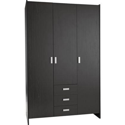 New Capella 3 Door 3 Drawer Wardrobe - Black Effect