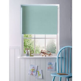 New thermal and blackout roller blinds: one duck egg blue and one natural colour.
