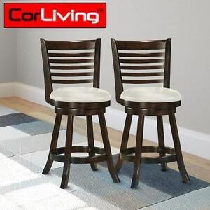 """2 NEW CORLIVING 38"""" BARSTOOL WOODGROVE 38"""" CAPPUCCINO WOOD BARSTOOL WITH LEATHERETTE SEAT 104752680"""