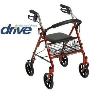 NEW* DRIVE MEDICAL STEEL WALKER 10257RD-1 245671799 ROLLATOR RED FOLDING 31x37 HANDLE HEIGHT