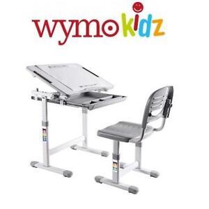 NEW WYMO KIDS DESK  CHAIR WY-B203G 231750592 Ergonomic Adjustable Childrens W/ Drawing Paper Roll Grey
