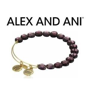 NEW ALEX AND ANI BEAD BRACELET JEWELLERY - JEWELRY - LUXE BEAD BANGLE - AMETHYST GOLD 102996635