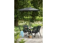 **BARGAIN**Luxury Garden Patio Furniture set with glass table, 4 chairs, parasol and parasol base