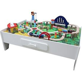 White wooden train table and accessories *NEW*