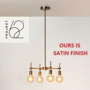 NEW 4 LIGHT BULBS CHANDELIER 07406-2443 244972511 PROJECT 62 MENLO MULTI HEAD GLASS GLOBE CEILING SATIN FINISH