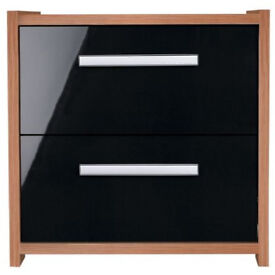Fully assembled New Sywell 2 Drawer Bedside Chest - Walnut Effect and Black