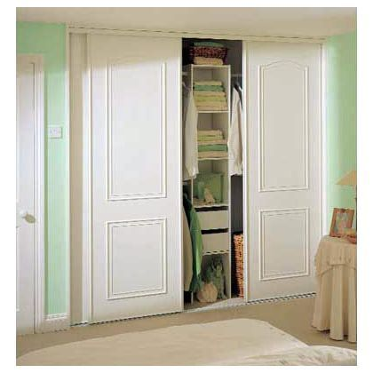 3 X Homebase White Cathedral Arch Sliding Wardrobe Doors Track Set