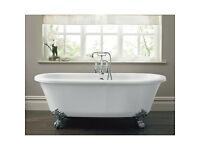 Freestanding Roll Top Bath with Floor standing taps - New (from Homebase)