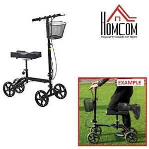 NEW HOMCOM ADJUSTABLE KNEE WALKER 712-001BK 222817426 Foldable Steerable Medical Scooter with Brake Basket Black