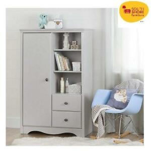 NEW SOUTH SHORE ARMOIRE DOOR CHEST 10230 222487073 ANGEL W/ DRAWERS SOFT GRAY