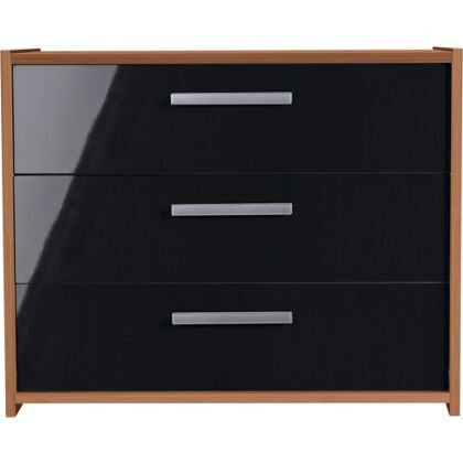 New Sywell 3 Drawer Chest - Walnut Effect and Black Gloss