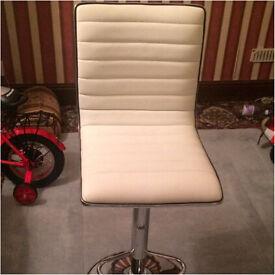 2 White Leather Stools £40
