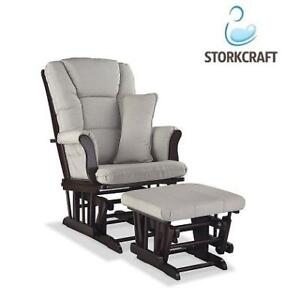 NEW* CUSTOM GLIDER AND OTTOMAN SET 06554-56B 213619116 TUSCANY BLACK/TAUPE SWIRL