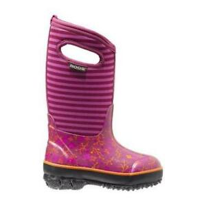 Stunning BOGS Fuchisa Classic Flower Stripes Boots Size Girls 3