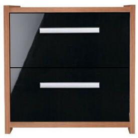 New Sywell 2 Drawer Bedside Chest - Walnut Effect and Black