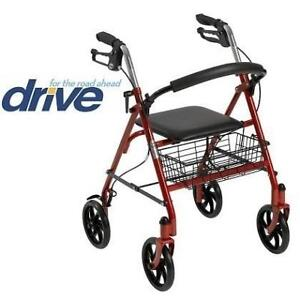"""NEW* DRIVE MEDICAL STEEL WALKER 10257RD-1 210779292 ROLLATOR RED FOLDING 31""""x37"""" HANDLE HEIGHT"""