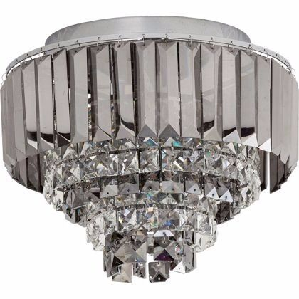 Homebase crystal prism flush ceiling light silver