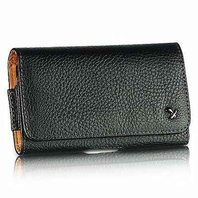 Black Horizontal Belt Clip Leather Pouch Case for Samsung Galaxy Grand Prime LTE Deluxe Horizontal Leather Pouch Case